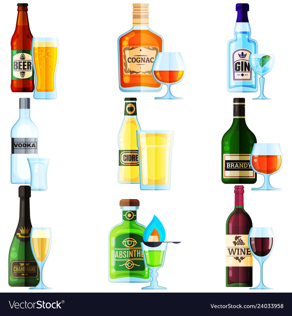 Big set of different bottles of alcohol drinks