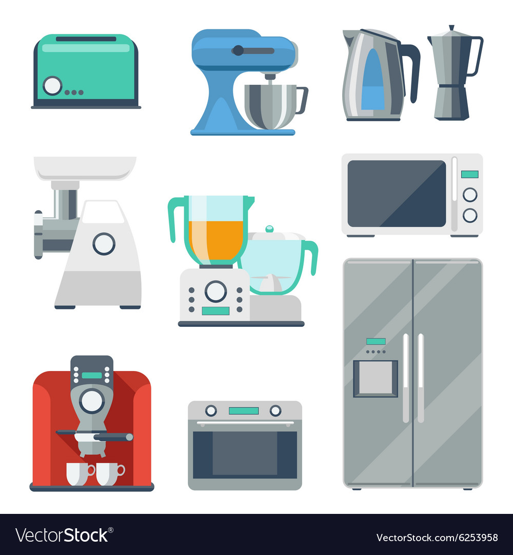 Cooking equipment flat icons set