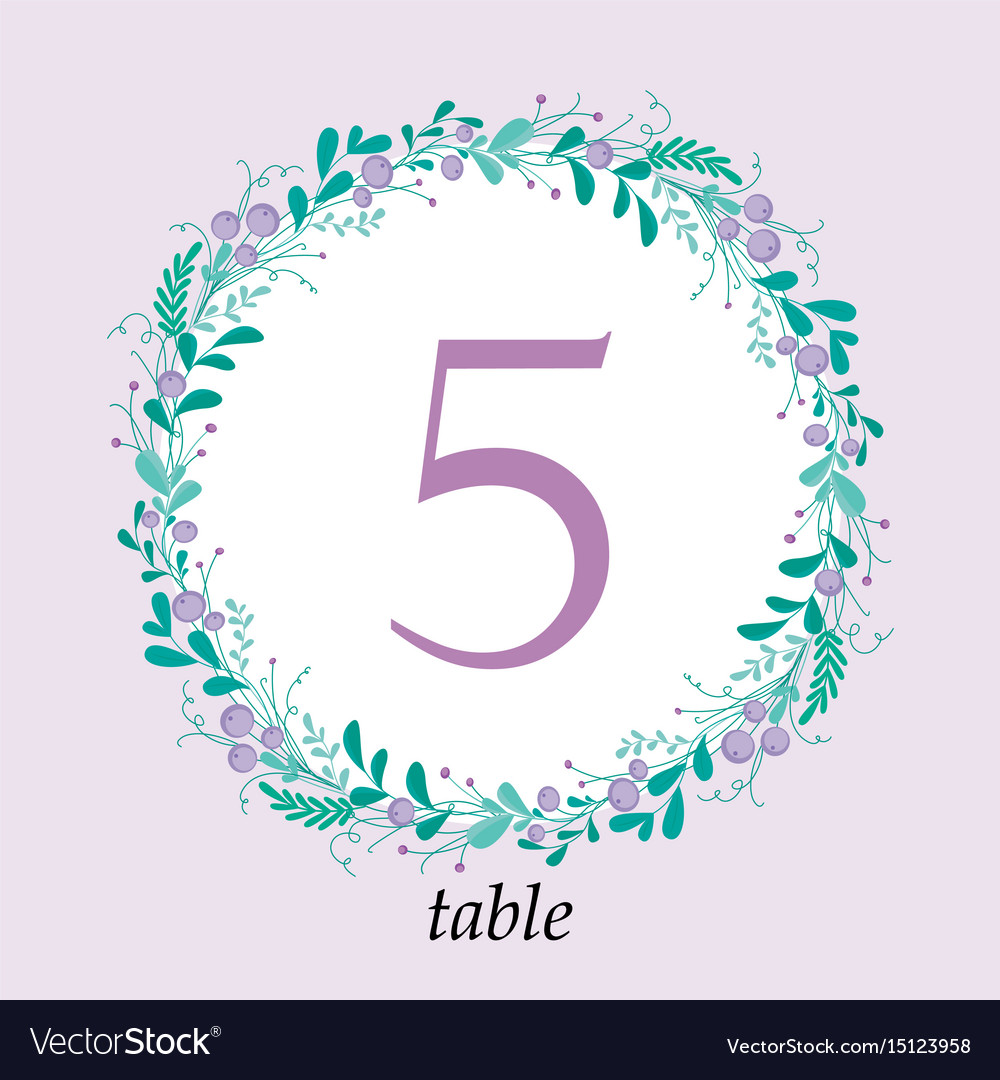 cute wedding table number card template with hand vector image
