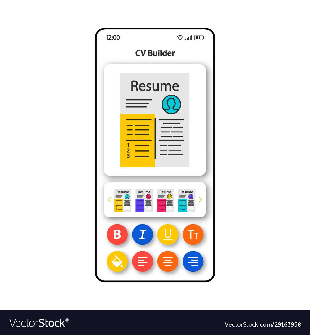Cv templates builder smartphone interface on community builder, word builder, sentence builder, home builder, car builder,