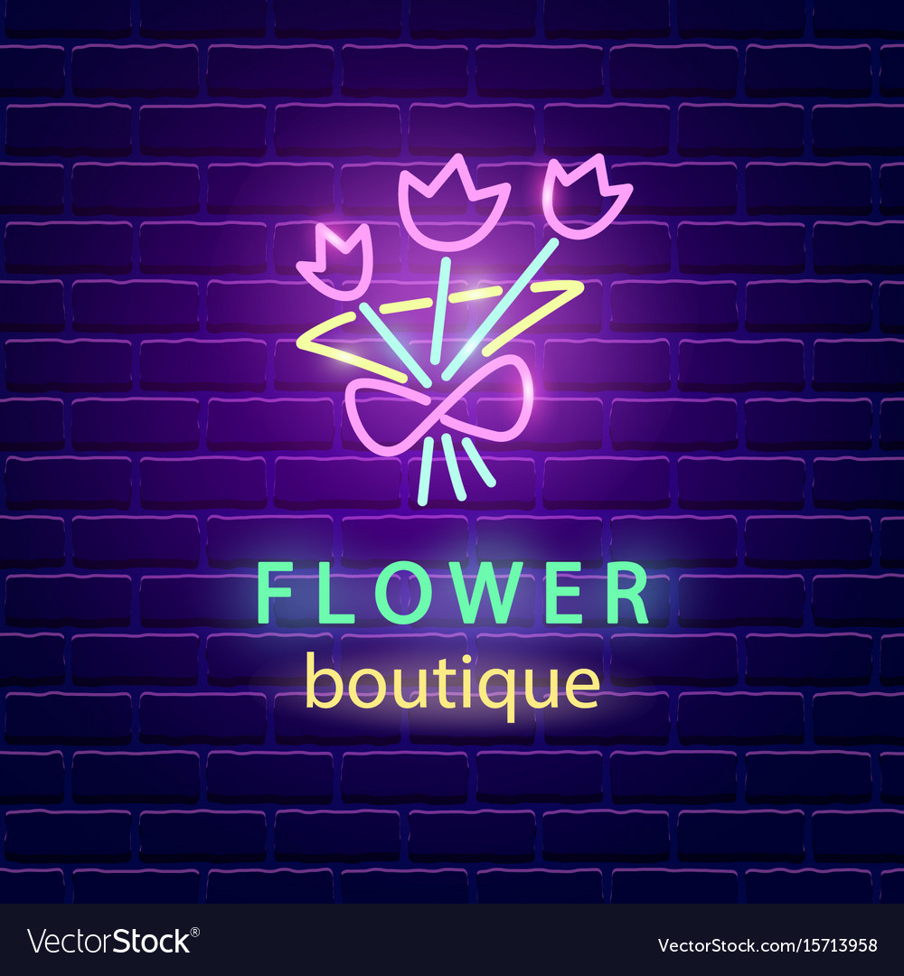 Flower boutique neon emblem