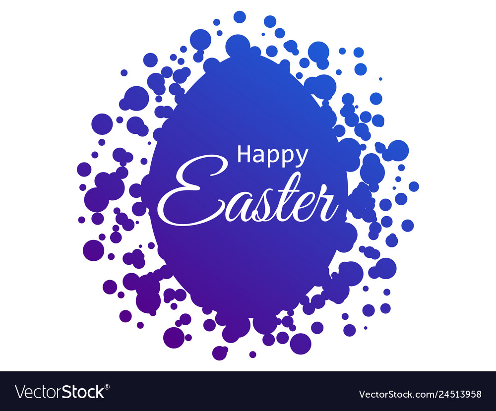 Happy easter easter egg with dots blue gradient