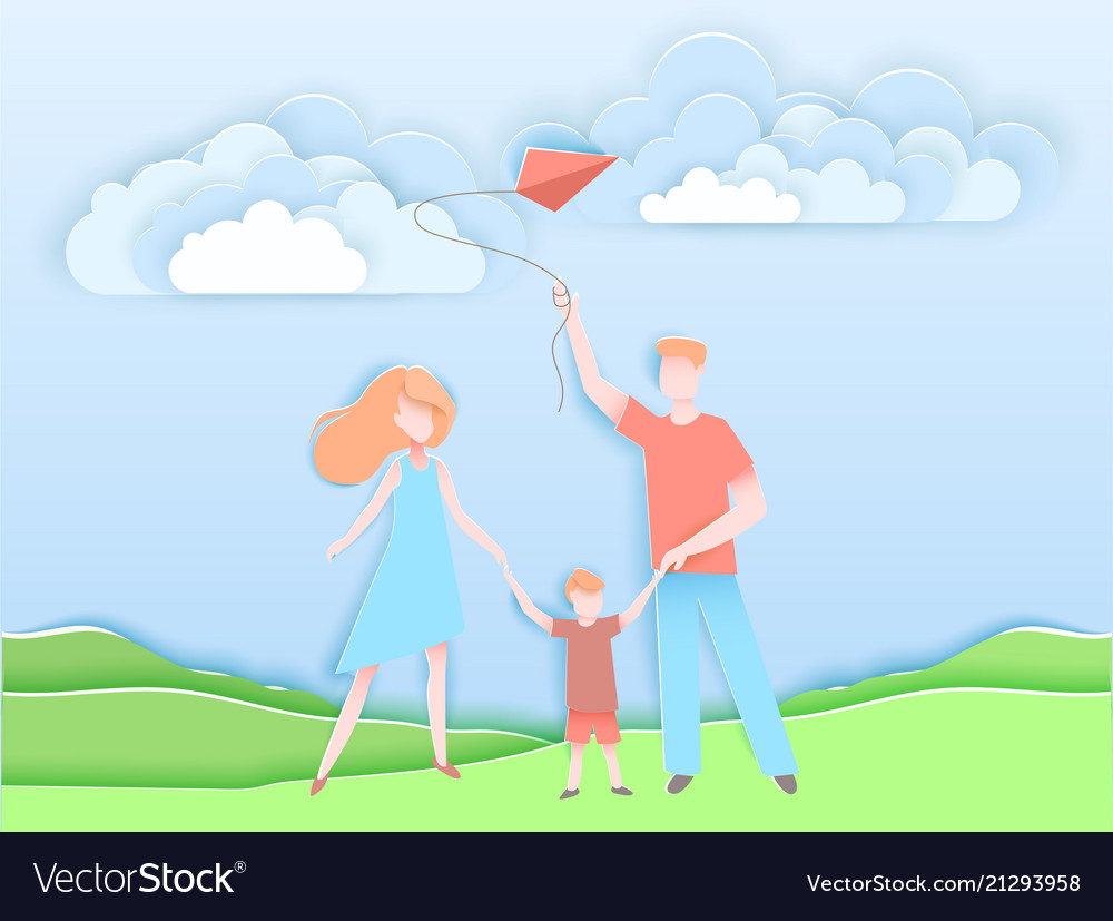 Happy family walking in a park with kid