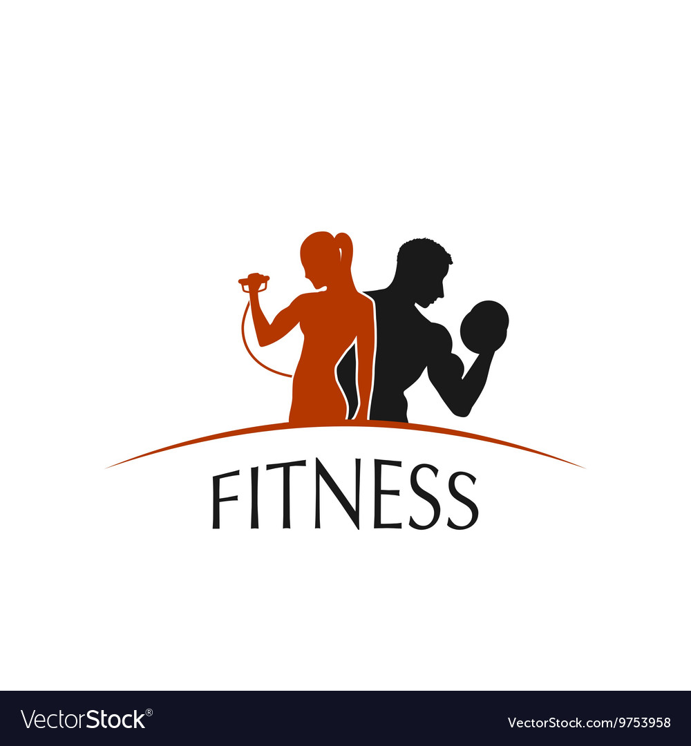 Label fitness club with the image of women and men