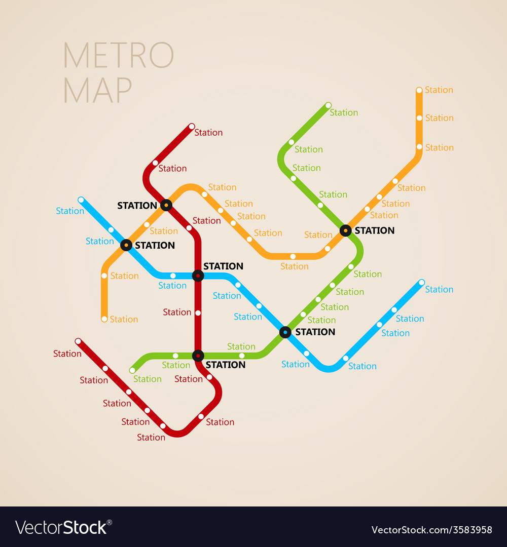 Metro Subway Map Design Template Transportation Vector Image