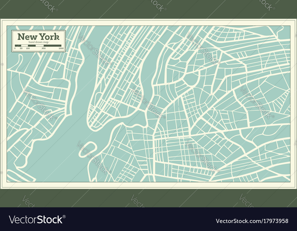 New York On Usa Map.New York Usa Map In Retro Style Royalty Free Vector Image