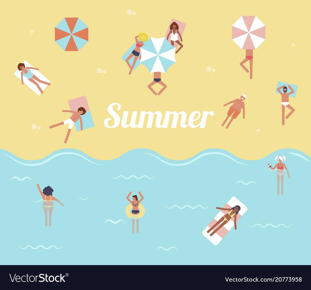 People in sea hello summer swimming pool