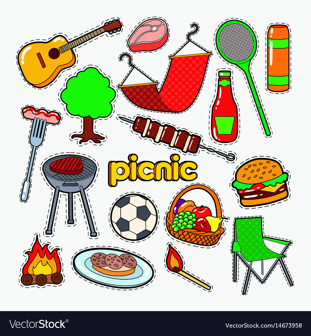 Picnic bbq party doodle barbecue and grill