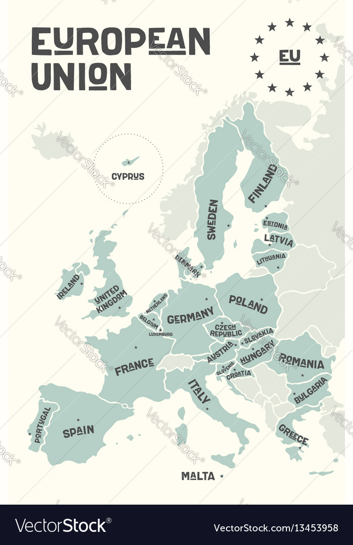 Poster map of the european union with country