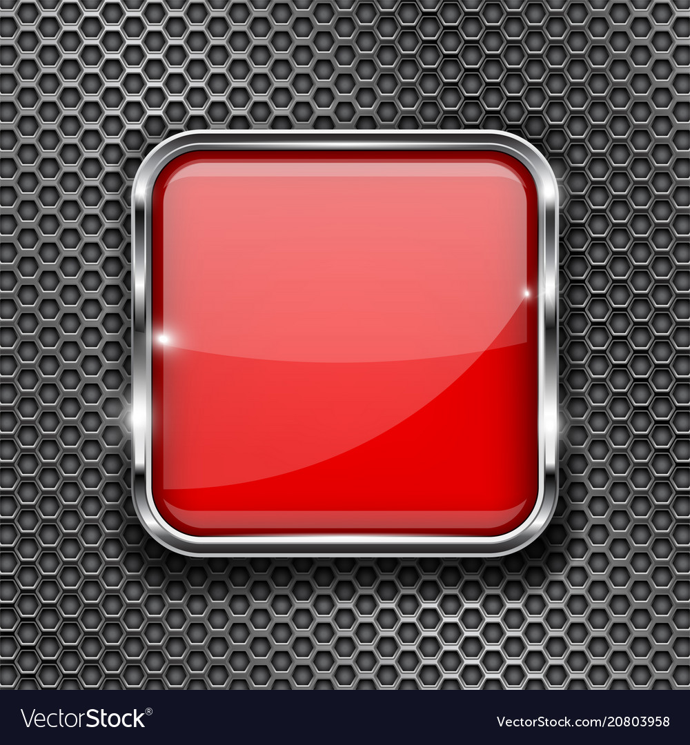 68fc8f68c96 Red glass 3d button with metal frame on perforated vector image