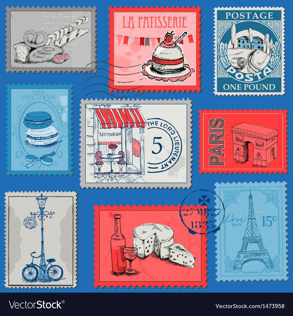 Set of Stamps - Vintage Paris and France