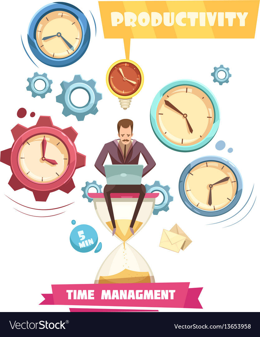 Time Management Retro Cartoon Concept Royalty Free Vector