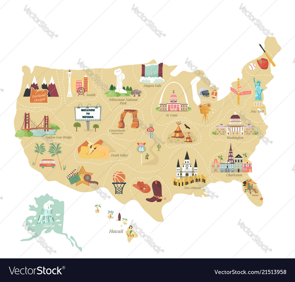 Usa tourist map with famous landmarks