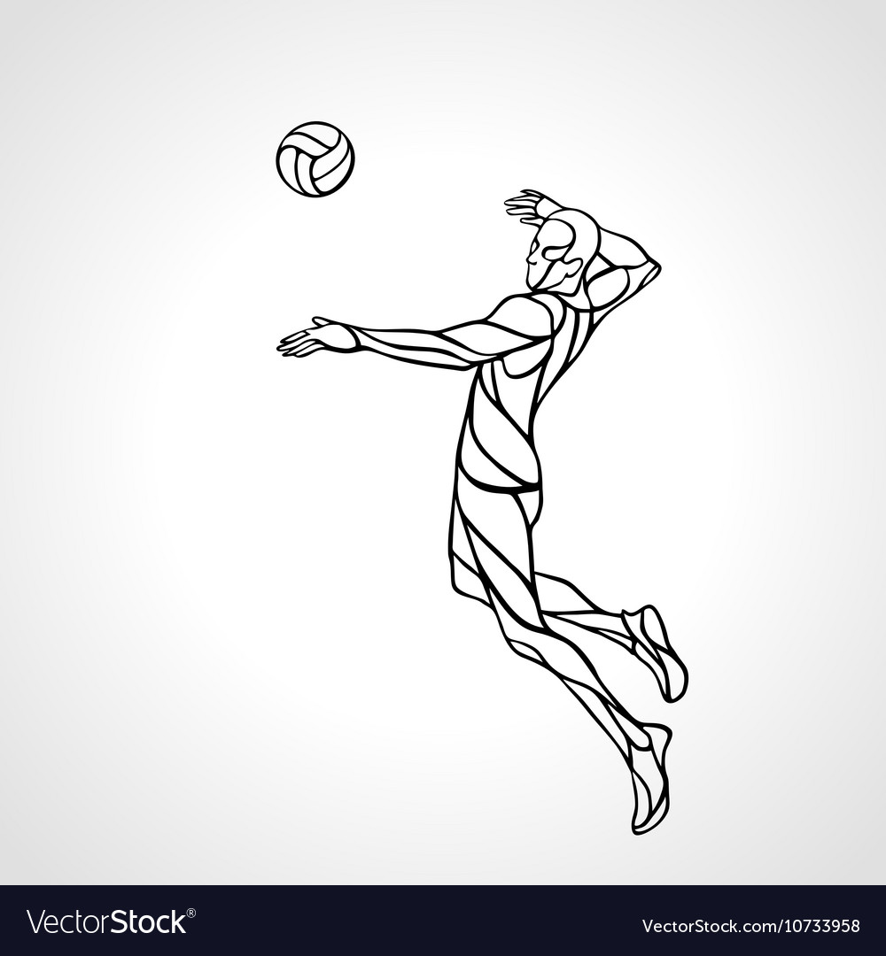 Volleyball attacker player outline silhouette Eps