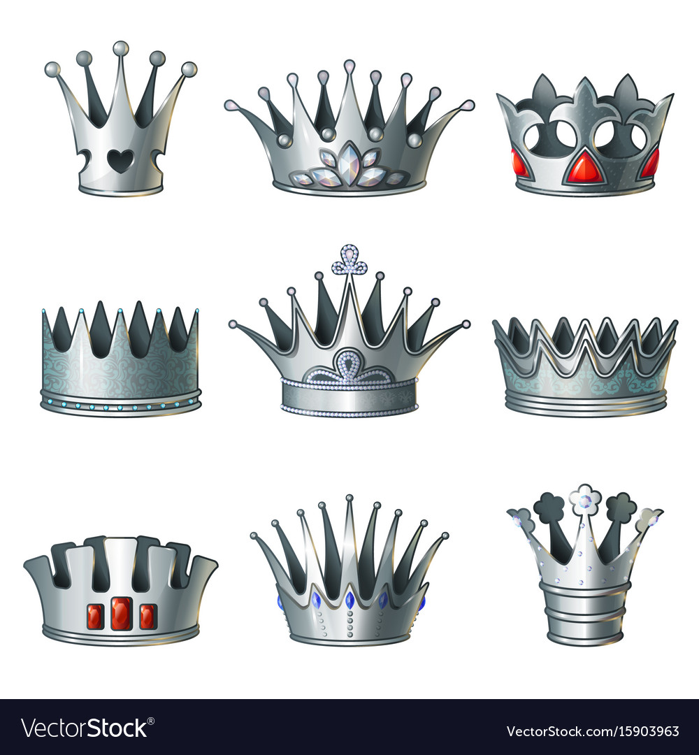 Cartoon Silver Royal Crowns Set Royalty Free Vector Image Polish your personal project or design with these silver crown transparent png images, make it even more personalized and more attractive. vectorstock