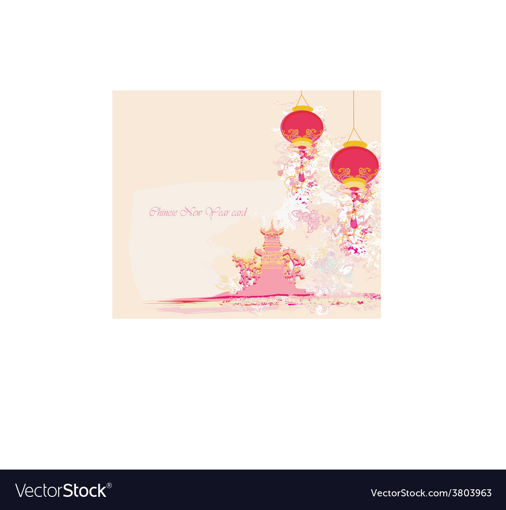Chinese New Year card - Traditional lanterns and Vector Image