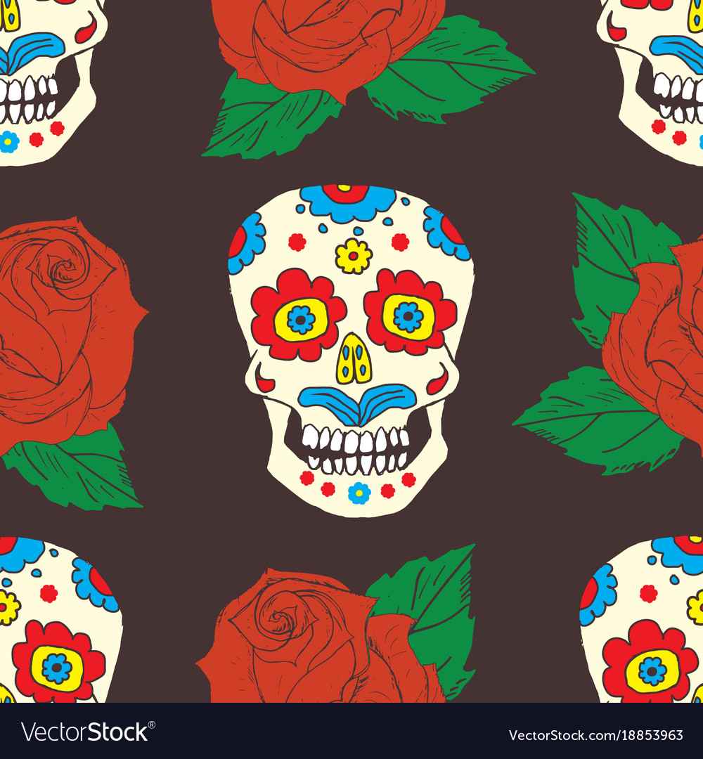 Day of the dead seamless pattern handdrawn sugar