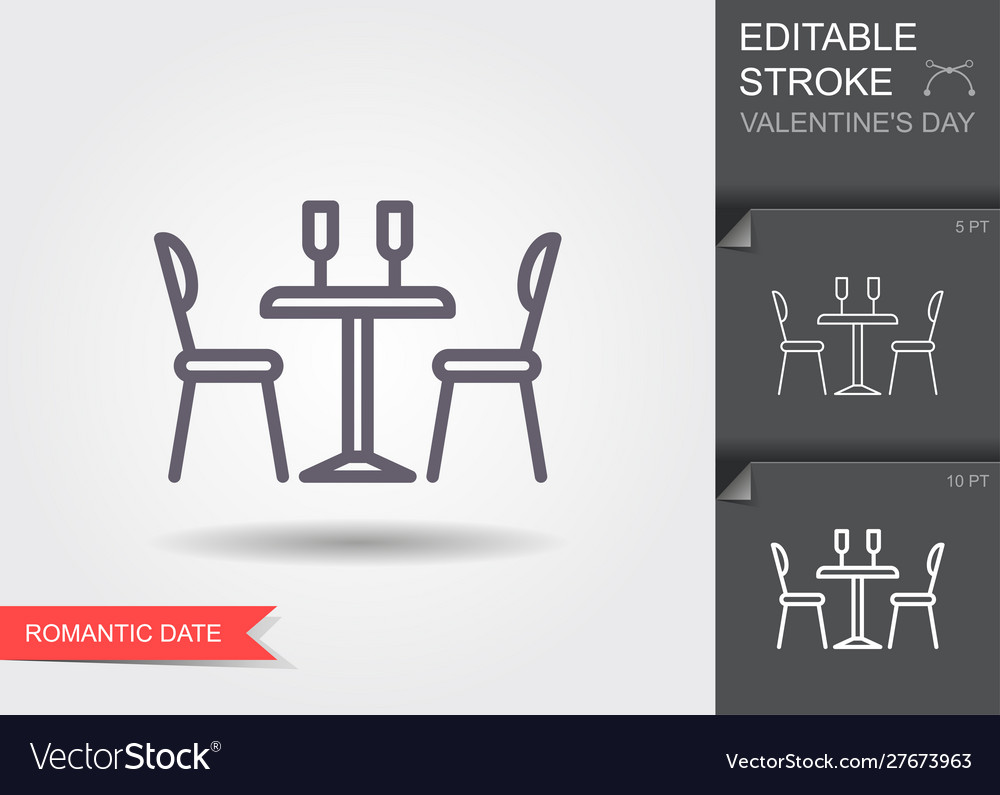 Dining table for date with glasses wine and