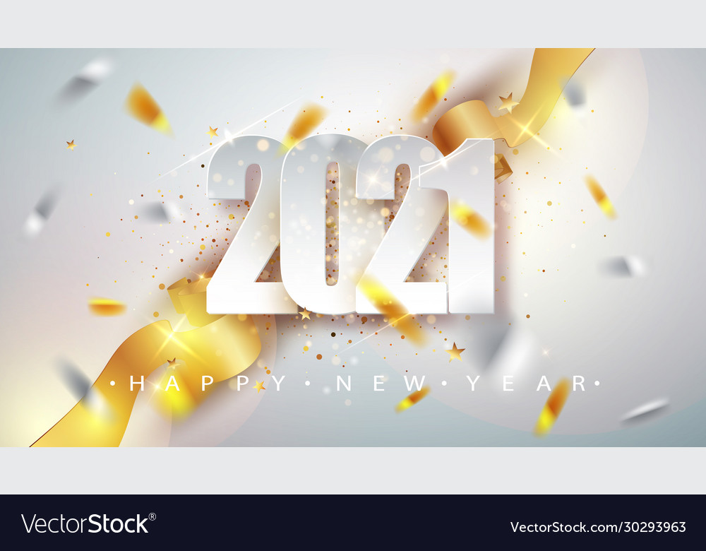 happy new year 2021 greeting card with confetti vector image vectorstock