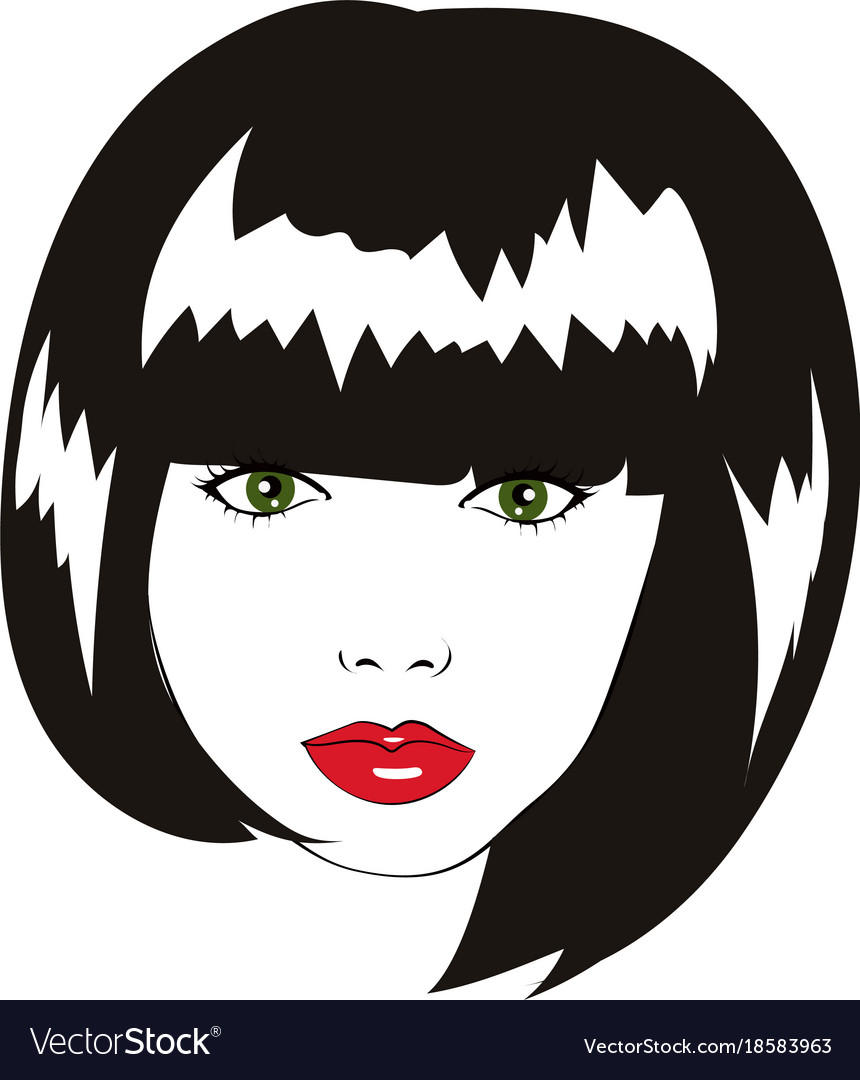 Lovely Woman Face With Bob Haircut Logo Royalty Free Vector