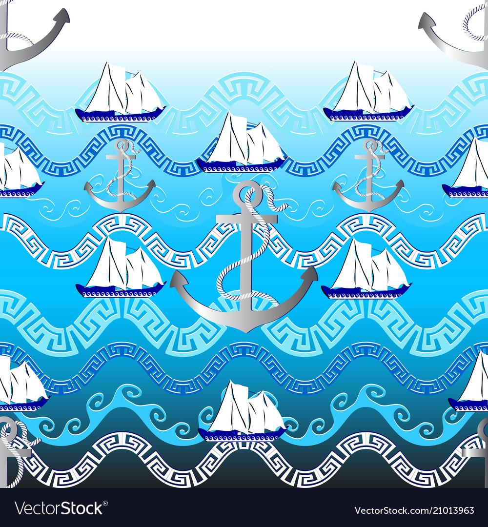 Marine greek seamless pattern light blue