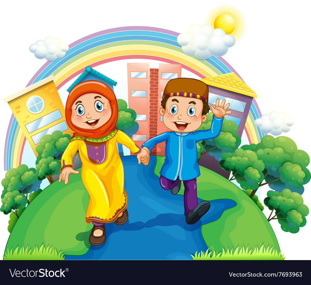 Muslim couple holding hands vector image