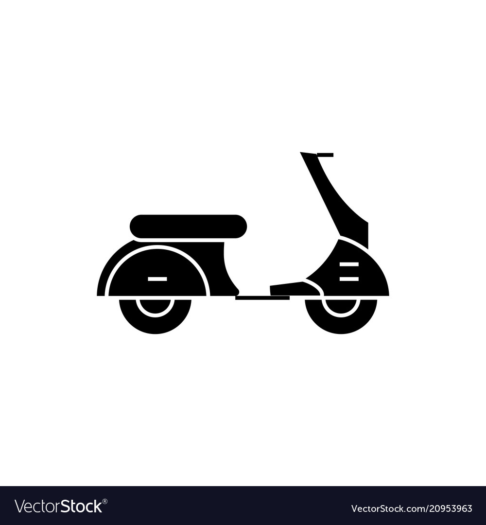 Scooter black icon concept scooter sig
