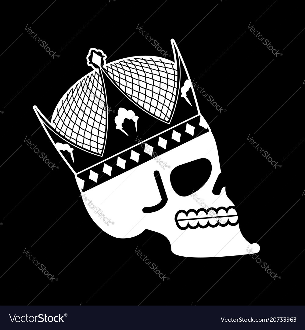 Skull in crown head of skeleton of king death of