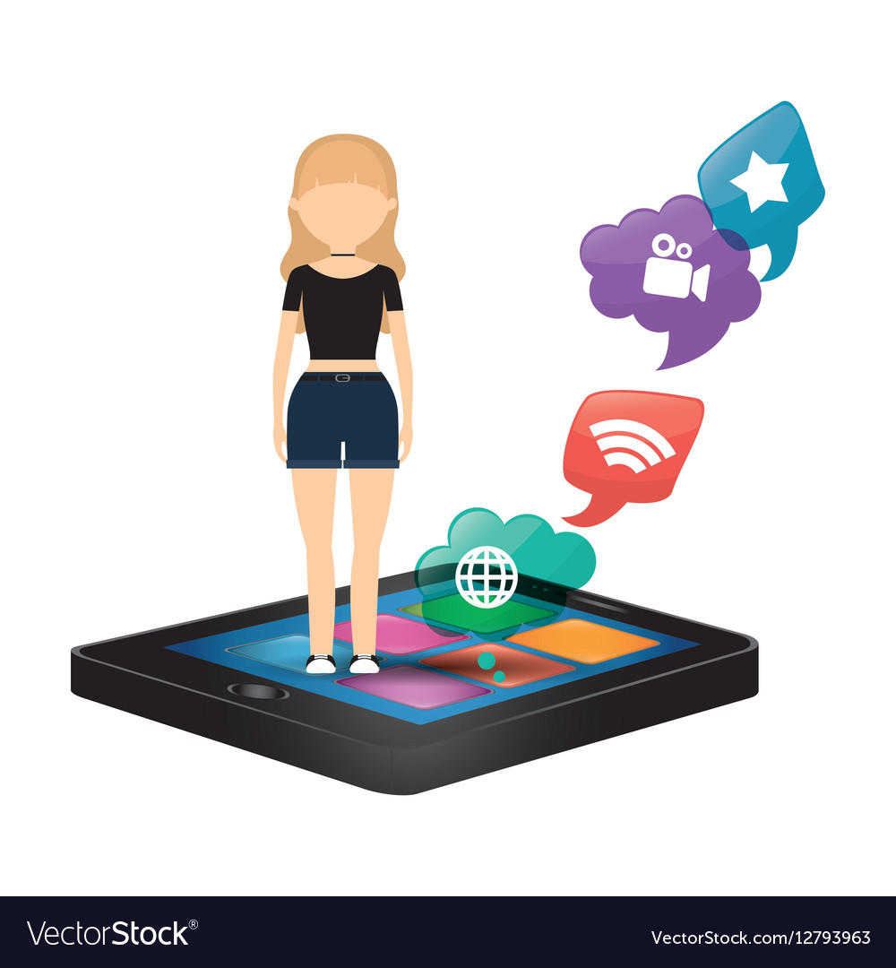 Woman smartphone social media bubble speech vector image