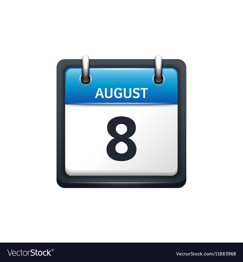 August 8 Calendar icon flat vector image