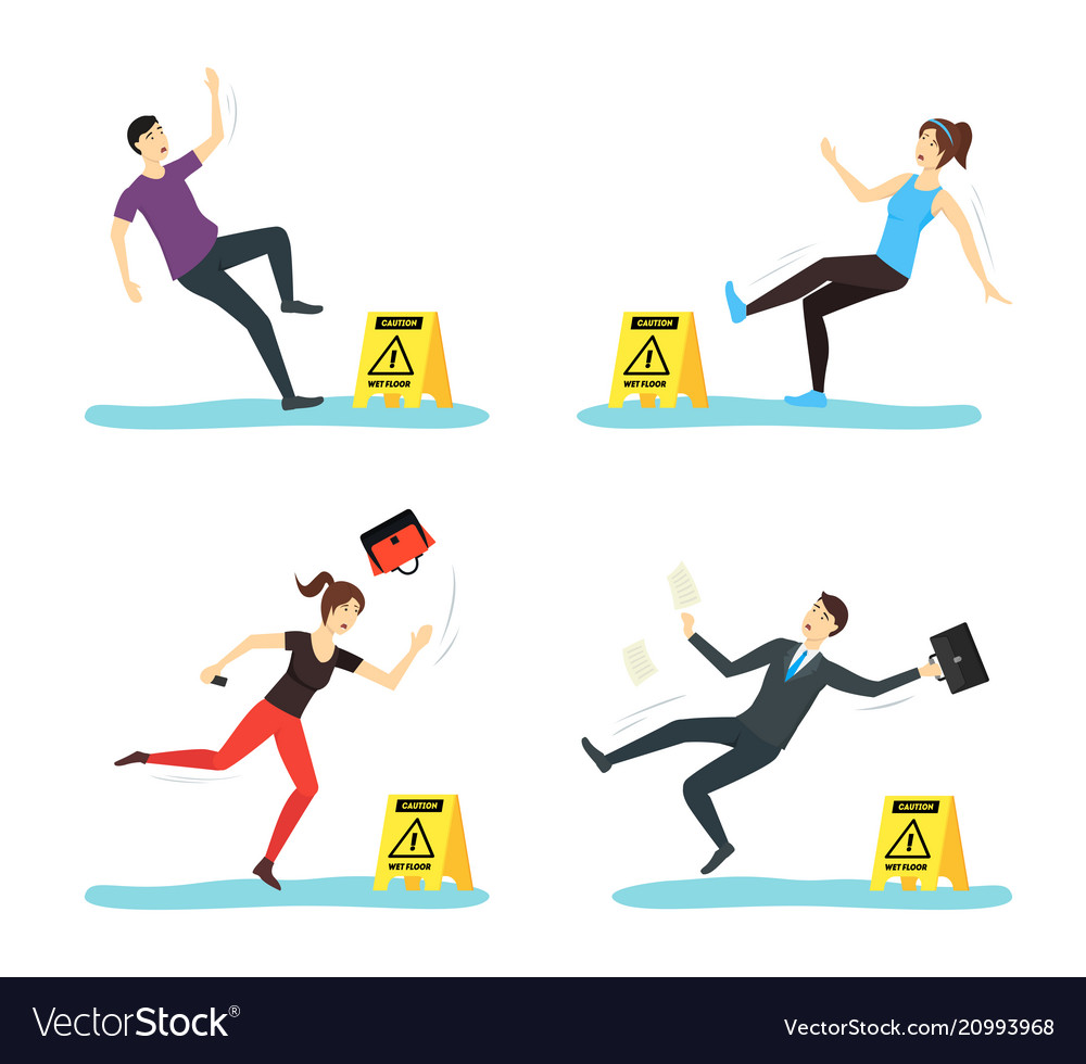Cartoon caution wet floor with people characters
