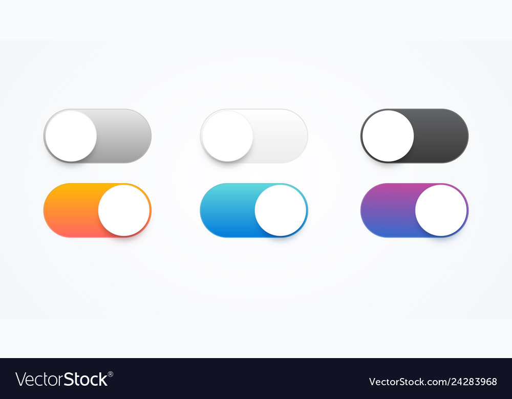 Colorful on and off toggle switch buttons