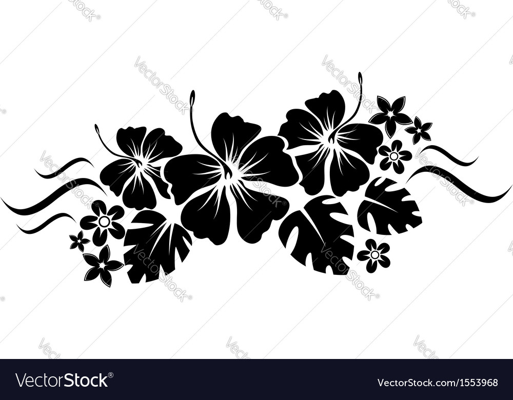 Floral border silhouette