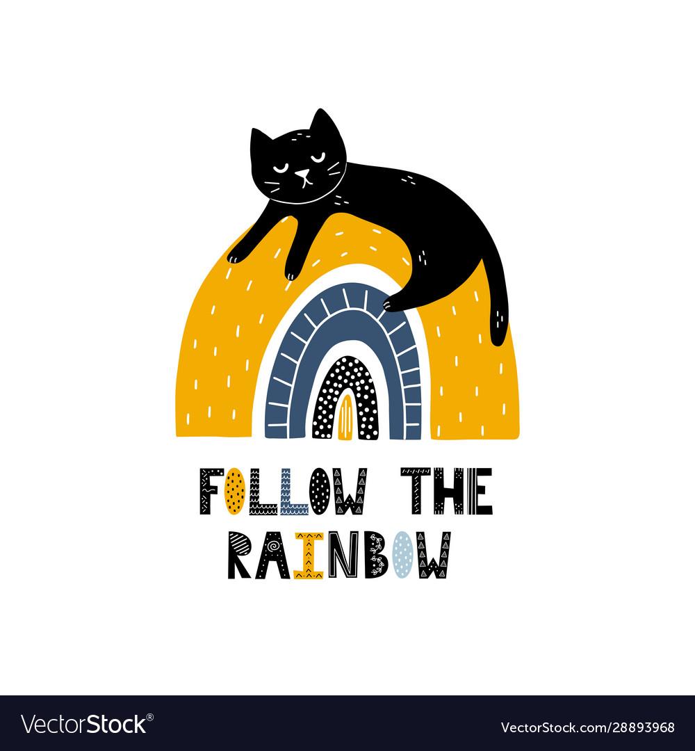 Follow rainbow card with a cute black cat