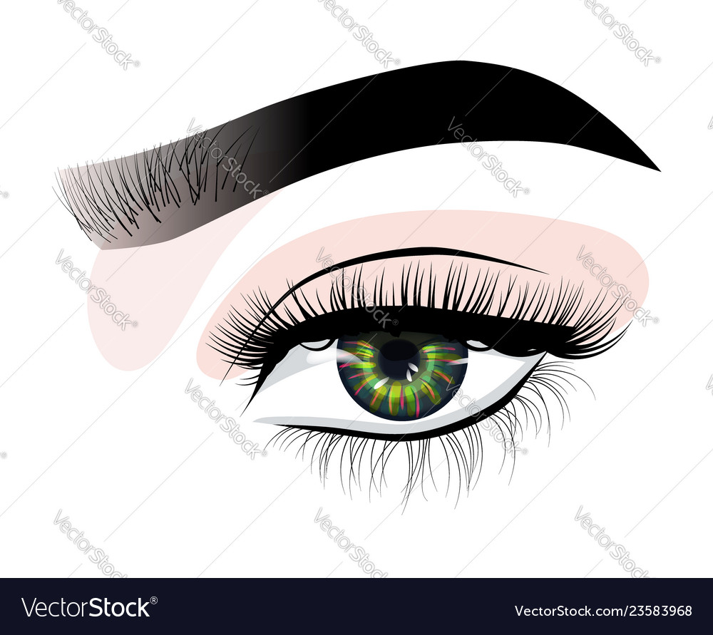 Hand-drawn womans sexy luxurious eye with