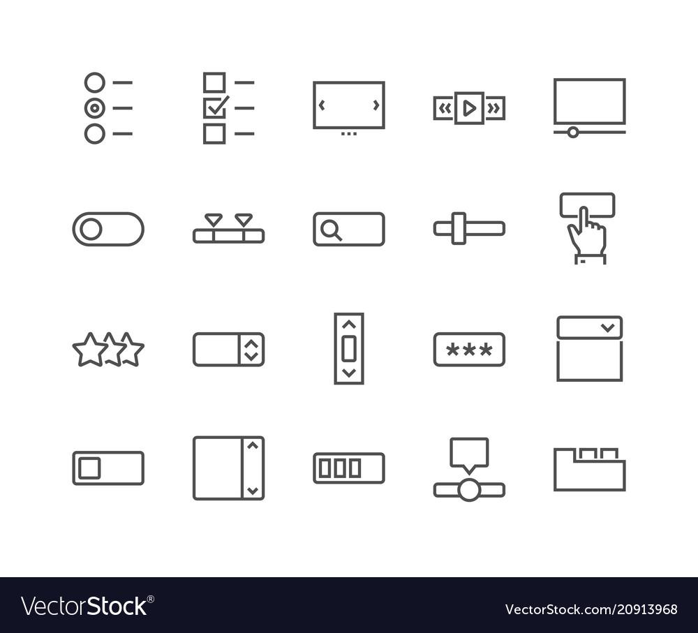 Line ui elements icons