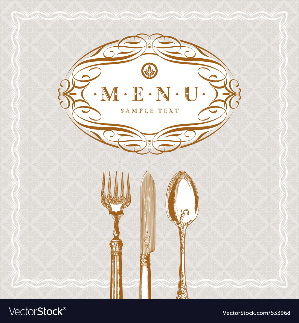 Menu with vintage cutlery vector image