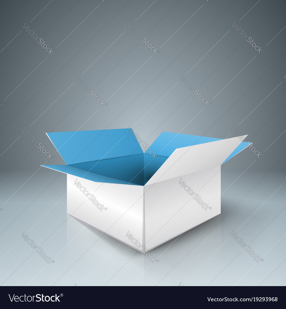 Paper open box with shadow vector image