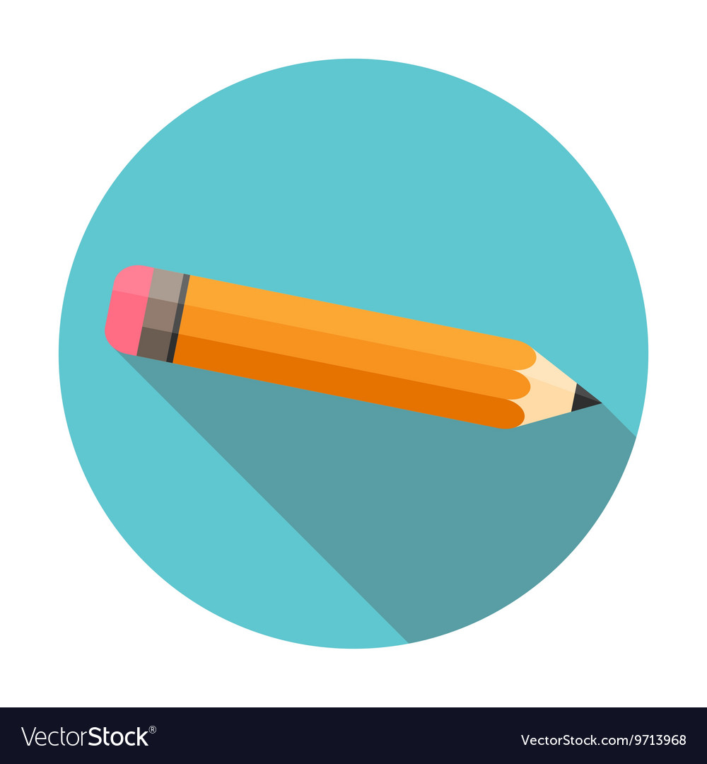 Pencil flat design long shadow circle isolated on vector image