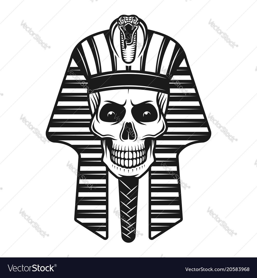 264e0e839 Pharaoh skull egyptian ancient retro Royalty Free Vector