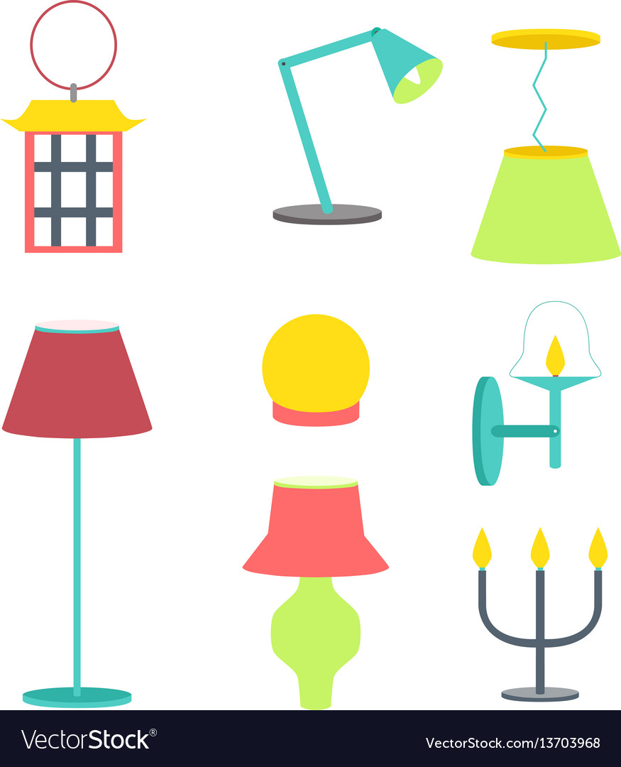 Set of different lamps furniture and floor lamps