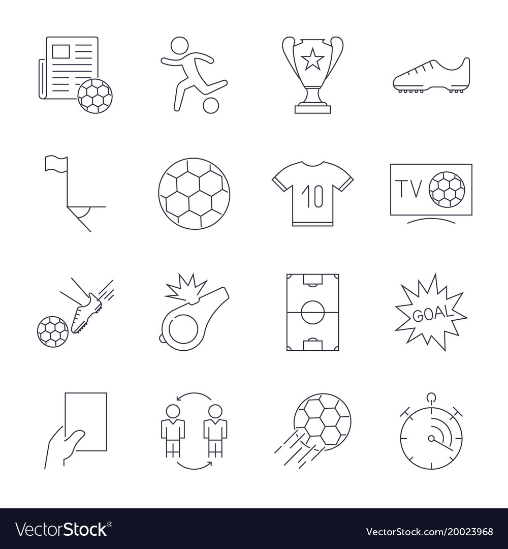 Soccer icons set editable stroke vector image