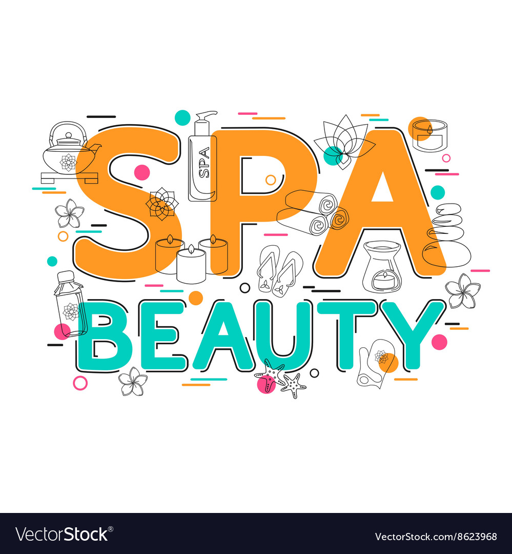 Spa and Beauty - Flat Style Thin Line Art Design