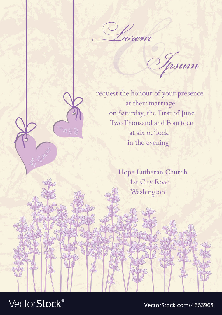 Wedding Invitation Card Lavender Background