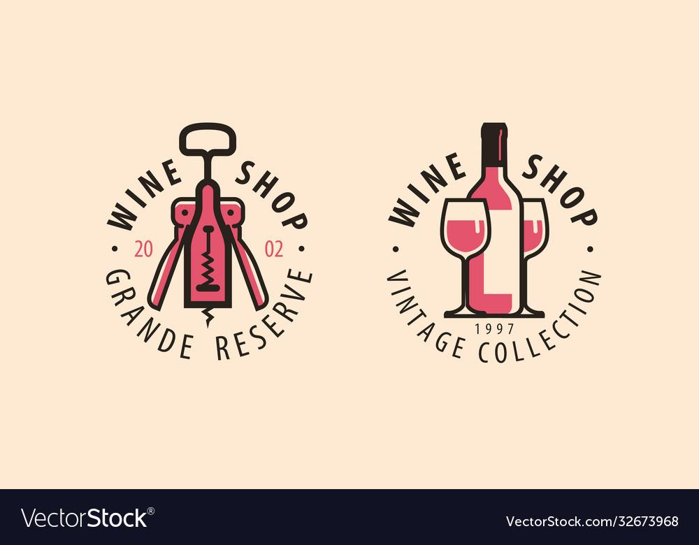 Wine store logo winery restaurant drink concept
