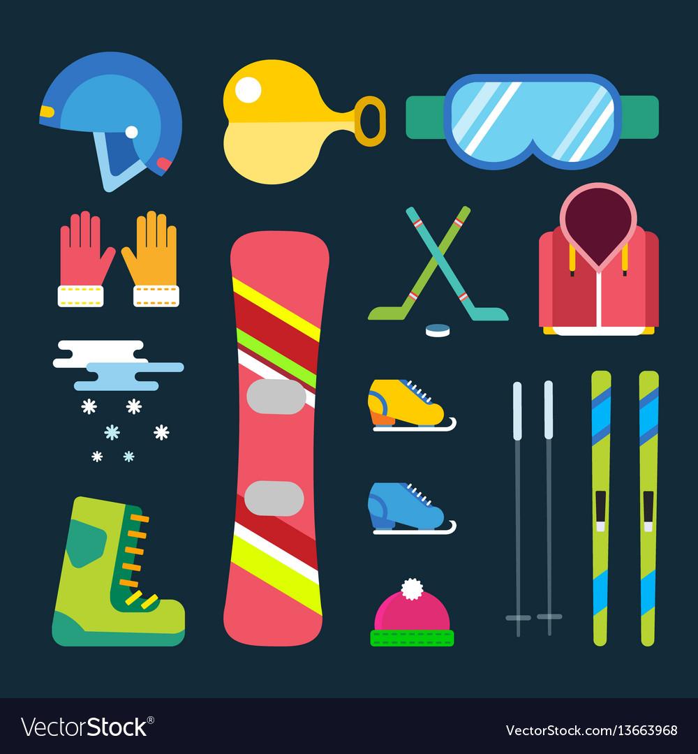 Winter sport icons set game design ski