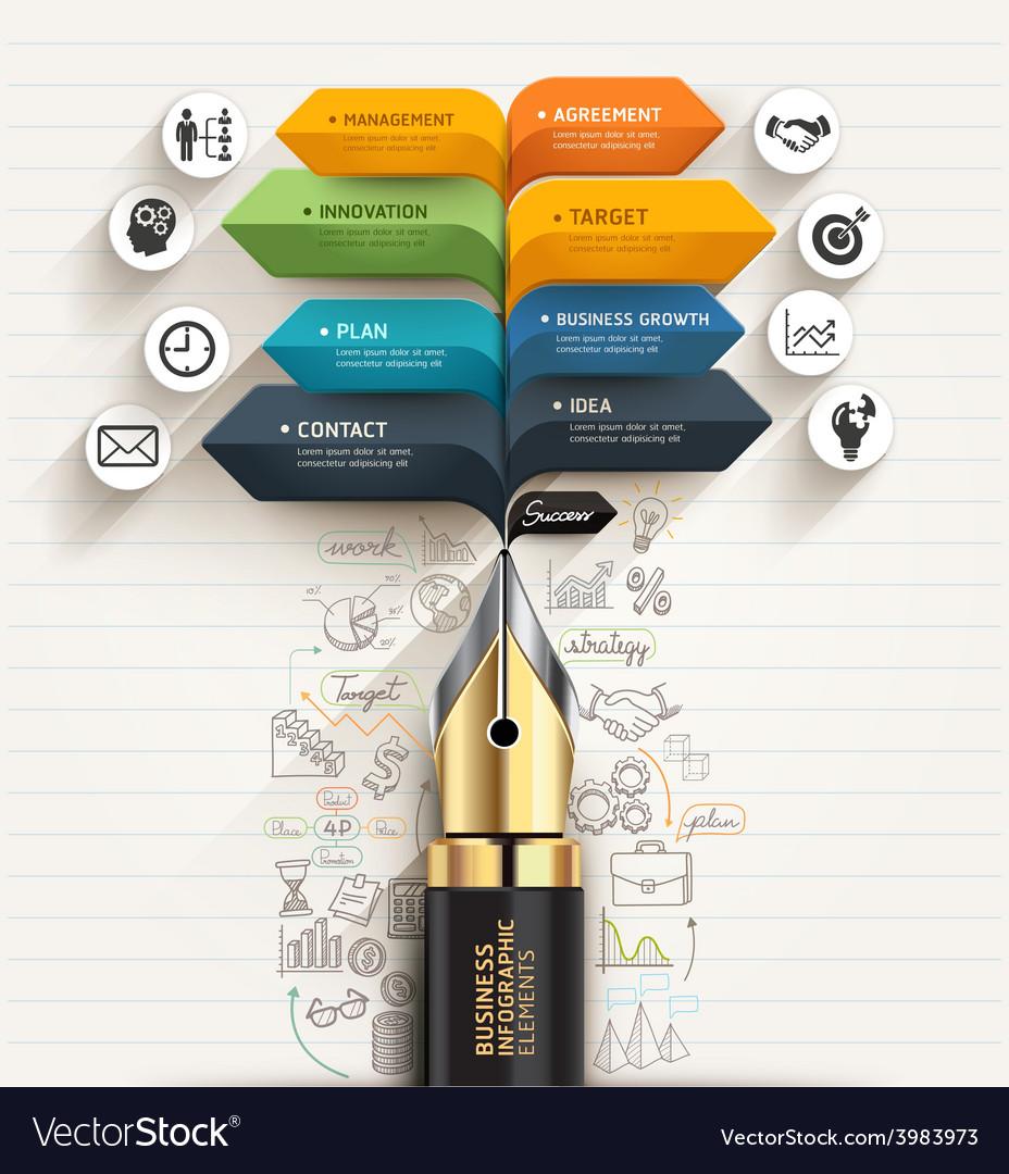 Business concept Pen and speech arrow template vector image
