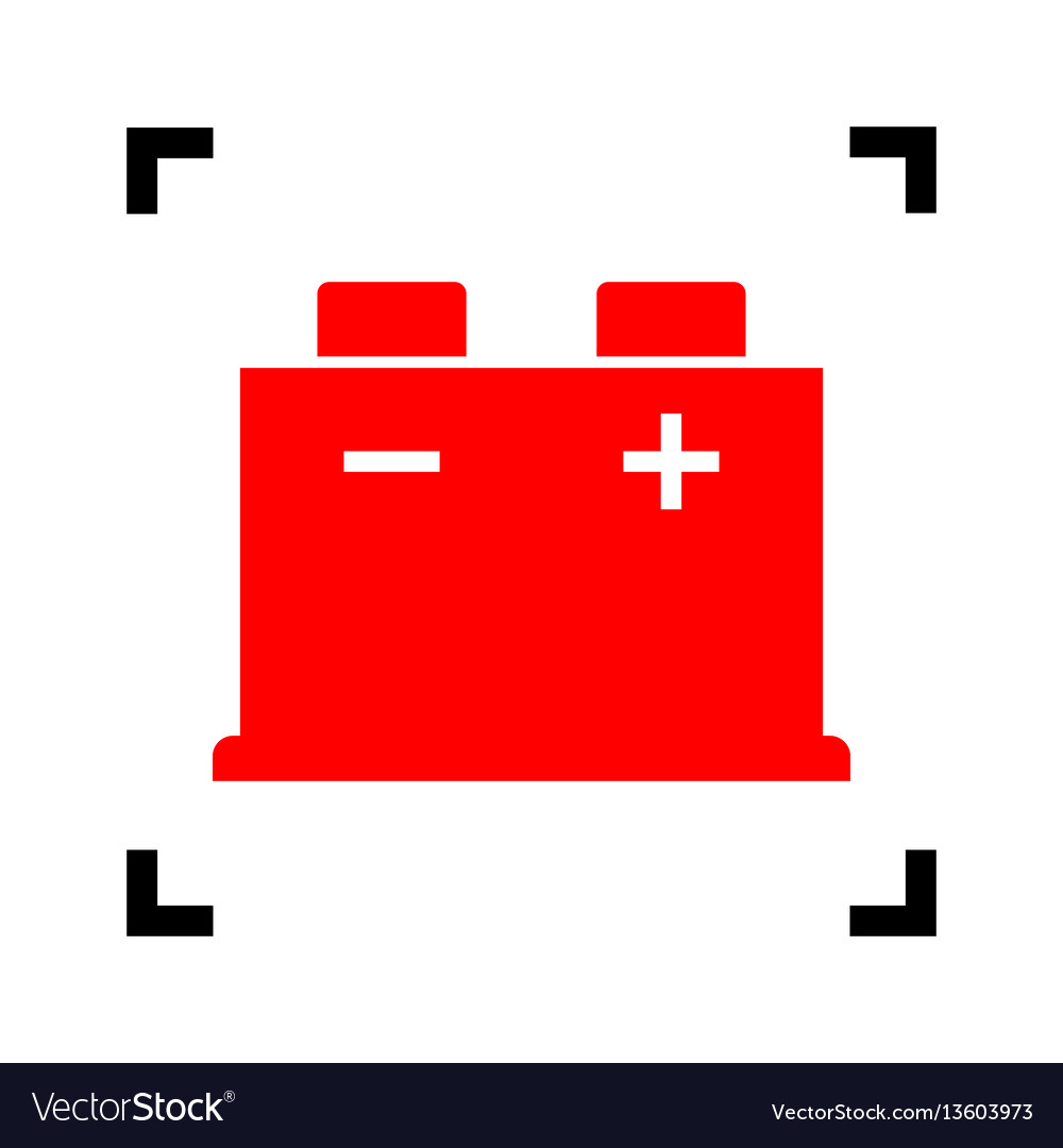 Car Battery Sign Red Icon Inside Black Royalty Free Vector