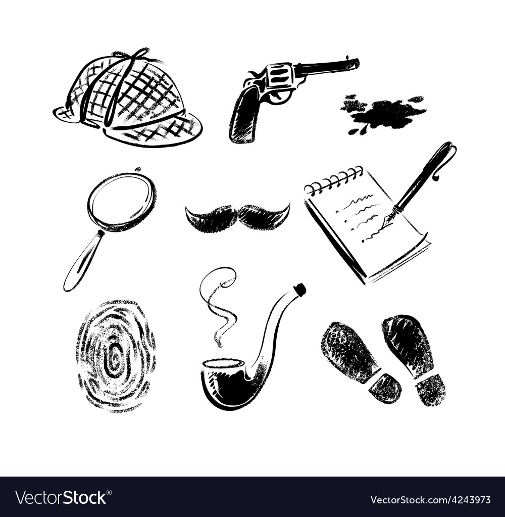 Detective sketch icons vector image
