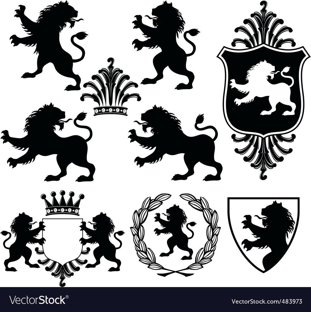 Heraldry silhouettes vector image